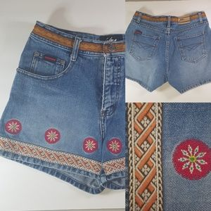 FUBU embroidered embellished festival jean shorts